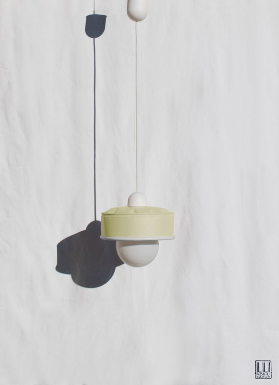 Hanging / pendant / ceiling lamp, light pastel yellow color ... eco friendly & handmade : recycled from  coffee can !