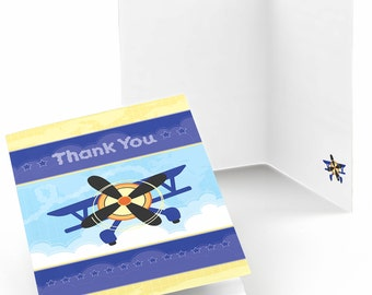 Set of 8 Airplane Thank You Cards - Party Supplies