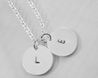 2 Layer Initial Handmade Stamp Overlay Sterling Silver Necklace / Overlay Sterling Silver Chain