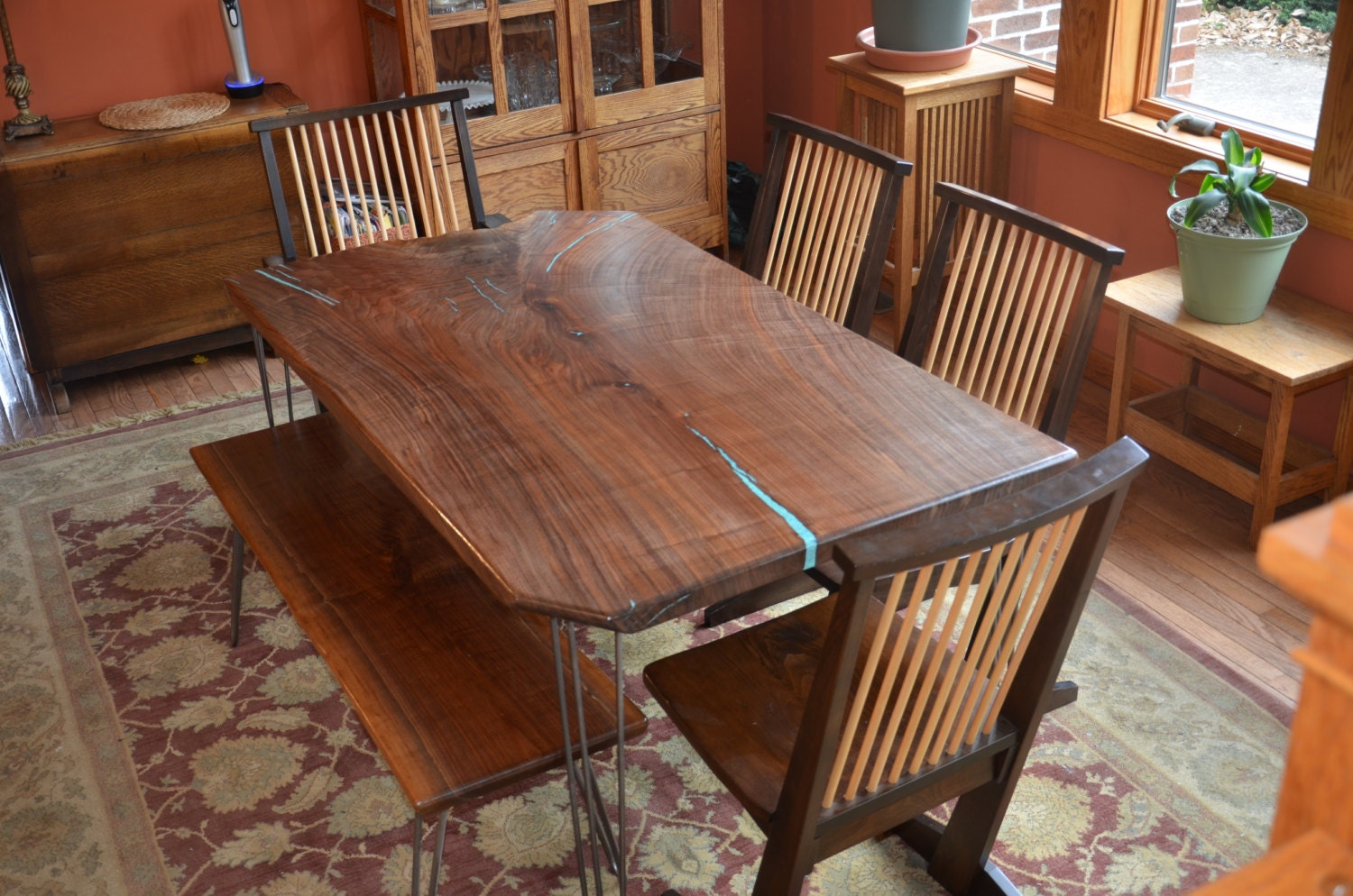 black walnut slab dining room table with by