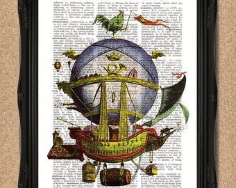 Hot Air Balloon Art Flying Ship Boat Dictionary Print Upcycled Book Art 8x10inches A129
