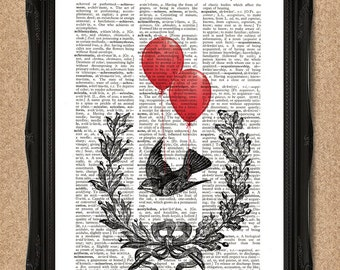 Flying Bird with Red Balloons Print Victorian Inspired Dictionary Book Art A076