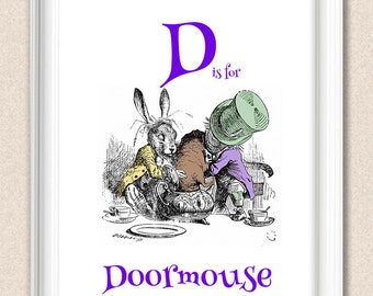 Alphabet Alice Print D is for Doormouse A095