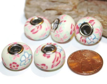 Multi Colored Flower Beads for European Charm Bracelet, European Beads, Clay Beads, Big Hole Beads, Rondelle, 10mm x 15mm, 5 Beads