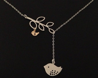Silver Family Branch Necklace, Mama Bird with Baby Bird. Lariat, Family Tree Necklace, Gift for Wife, Mother's Day, Anniversary Gift