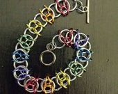 Rainbow celtic visions chainmaille bracelet
