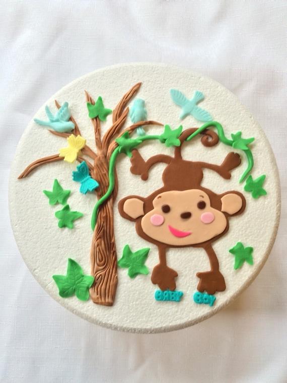 Monkey Baby shower cake topper fondant Monkey 2D set edible image ...