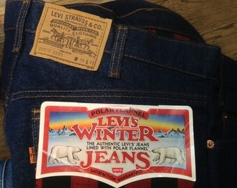 Vintage DeadStock 1986 LEVIS 515 Polar Flannel Lined Winter Jeans sz 36 X 36 in Mint Unused Condition