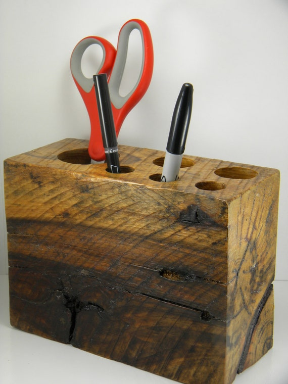 Oak Desk Organizer ~ Rustic natural oak wood pencil holder caddy desk organizer