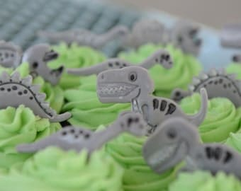 Edible Fondant Dinosaur Birthday Cake / Cupcake toppers - Set of 12
