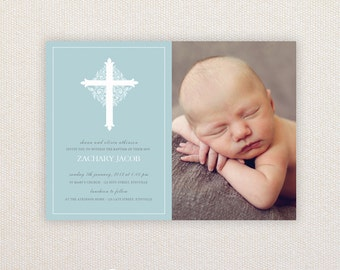 Boy Photo Christening/baptism Invitations. Ornate cross. I Customize, You Print.