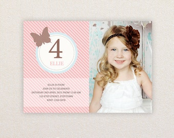 Girls Birthday Party Invitations. Vintage Butterfly. I Customize, You Print.