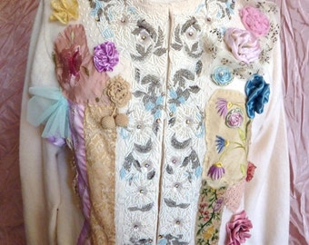 Hand beaded vintage sweater boho wearable art tattered, Asian, Indian embroidery antique crochet lace hand made roses       lace  embroidery