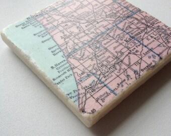 1954 Southwest Michigan Map Coaster