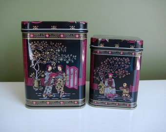 Vintage Tins - Nesting Tins - Asian Design