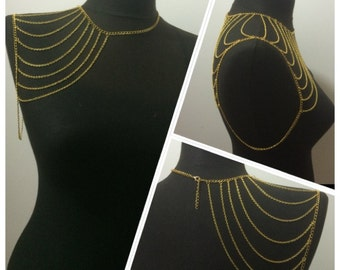 gold shoulder necklace, festival jewelry, shoulder jewelry ,  body chain,mk*66