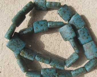 """African recycled glass beads, """"terrazzo tiles"""" (25 x 25 x 10 mm.), 1/4 strand, 5 beads, turquoise"""