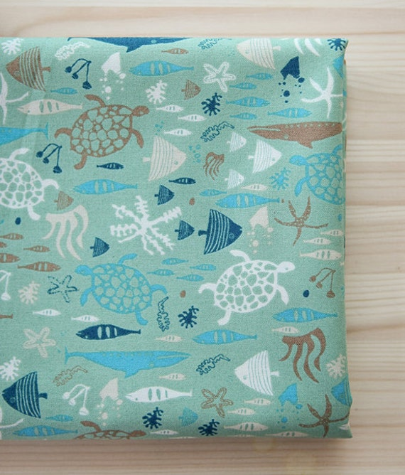 Items similar to aquarium fish pattern cotton fabric by for Fish pattern fabric