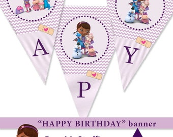 HAPPY BIRTHDAY Doc McStuffins party decor. diy. Banner decor. Girl party decor. Instant Download PRINTABLE