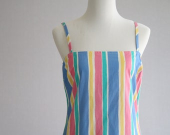 Vertical Multicolor Stripe Drop Waist Summer Dress