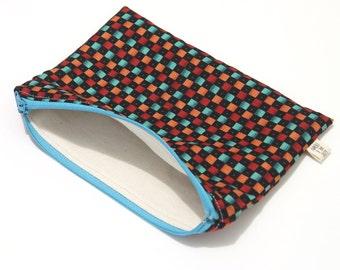 Pencil case dark and bright squares zipper pouch