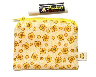 Yellow flowers small zip pouch or coin purse