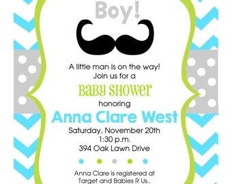 Personalized Oh Boy Mustache Baby Shower Digital Invitation- Printable, Digital, DIY