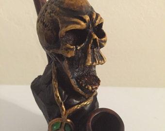 Tobacco Hand Made Pipe, Rasta Screaming Skull Design