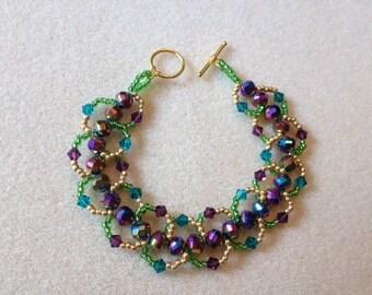 Hand Beaded Loop Bracelet-Mardi Gras-7.5 in.