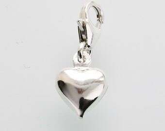 Genuine silver puffed heart clip on charm bead fits on Thomas Sabo bracelet