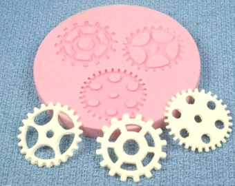 Silicone mold for making gears for steampunk art or jewelry
