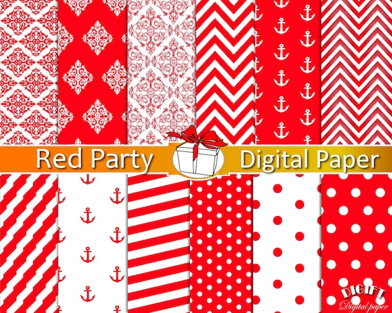 Red digital paper Red decor red damask Red and white stripe Red and white polka dot Red chevron for Red invitations Red party paper straws