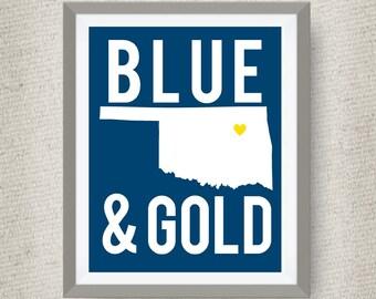 Tulsa Oklahoma Art Print, Blue & Gold, option of Gold Foil Print