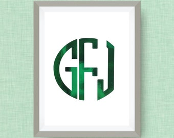 monogram print, option of gold foil or color foil print