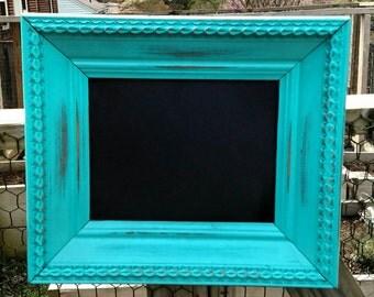 Vintage teal frame with magnetic chalkboard
