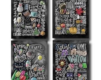 Four Seasons, 4 Seasons Wall Art, Chalkboard Art, Chalk Art, Four Seasons Art, Home Decor