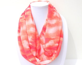 Coral Infinity Scarf, Summer Scarf, Ladies Scarves, Scarf Necklace, Chiffon Scarf, Lightweight Scarf, Transitional Scarf