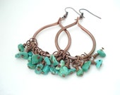 Boho Hoops-Handmade Copper Hoops Earrings-Wirewrapped Turquoise Beads-Metalwork Unique Earrings- Boho Copper Earrings