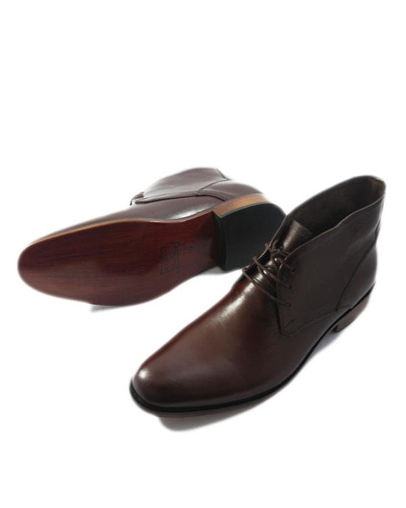 brown leather ankle high semi formal shoes by