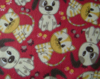 Puppy and Kitten Pair AntiPill Fleece Fabric Sold by the Yard