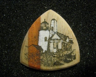 Wooden Guitar Pick Pemaquid Point Lighthouse Maine
