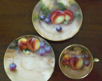 """Vintage Royal Worcester Handpainted Miniature Fine Bone Porcelain China """"FRUIT"""" Pattern - Cup, Saucer, and Plate Trio Set Made in England"""