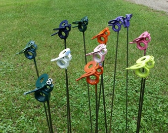 Busy bees, bees, nuts, washers, him, her, yard art, garden, recyled metal