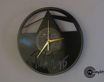 Pink Floyd clock, vinyl record clock,  pink floyd, Pink floyd dark side of the moon, pink floyd art, wall clock, vinyl clock, mancave decor