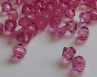 Vintage Swarovski Crystal Beads, Rose, Article 5301, 5mm Rose Beads, 50 Vintage Crystal Beads
