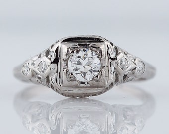 Antique Art Deco .31ct Transitional Cut Diamond Engagement Ring in 18k White Gold