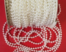 36 Yards of Vintage Faux Pearl Beads on Spool, White Pearl Garland. Shiny Pearls. 5mm