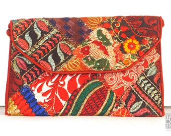 Authentic Red Patch Work Clutch