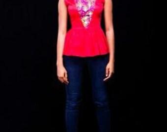 Ankara Peplum Top, Peplum Top, Woodin Blouse, African Print Tops, Kitenge Top, Party Top, Gift, Women's Blouse,Sleeveless Tops, African Shop