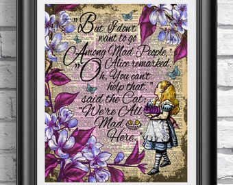 Alice in Wonderland book page print. Art print on antique dictionary book page Cheshire cat quote. Wall decor poster book page art purple.